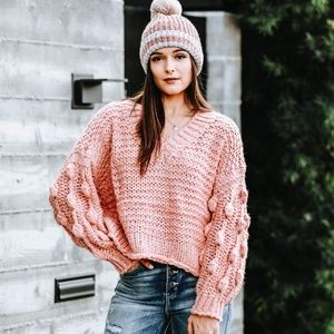 Textured Pom Pom Sleeve Sweater